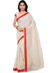 Viva N Diva Plain Banarasi Silk Beige Saree -vs06