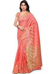 Viva N Diva Plain Banarasi Silk Orange Saree -vs07