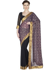 Designersareez Jacquard Net & Faux Georgette Embroidered Saree -1883