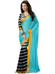 Viva N Diva Printed Bhagalpuri Blue Saree -19179-Aangi