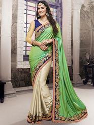 Viva N Diva Embroidered Satin Chiffon Green & Cream Saree -19433-Rukmini-03