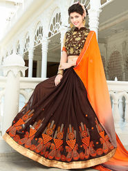 Viva N Diva Embroidered Georgette Orange & Brown Saree -rv09