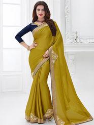 Indian Women Embroidered Satin Chiffon Green Designer Saree -GA20304