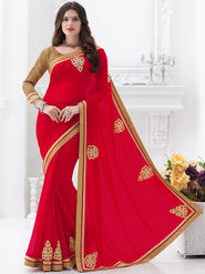Indian Women Embroidered Georgette Red Designer Saree -GA20305