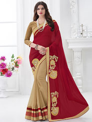 Indian Women Embroidered Moss Chiffon Maroon & Beige Designer Saree -GA20315