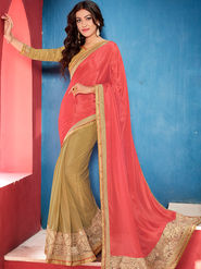 Indian Women Embroidered Satin Chiffon Pink and Beige Designer Saree -GA20345