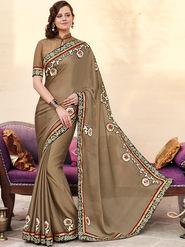 Indian Women Embroidered Satin Chiffon Brown Designer Saree -GA20351