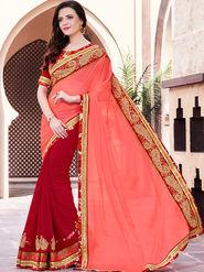 Indian Women Embroidered Moss Chiffon Orange and Red Designer Saree -GA20352