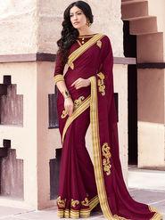 Indian Women Embroidered Moss Chiffon Maroon Designer Saree -GA20366