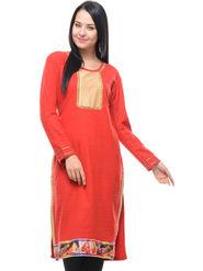 Lavennder Designer Red Solid Woolen Kurti -2902