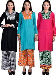 Combo of 3 Arisha Rayon Plain Stitched Kurti Printed Palazzo Set Krt-Plzo-03,08