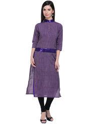 Lavennder Khaadi Striped Purple Long Straight Kurta - 623565