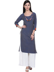 Lavennder Khaadi Plain Navy Blue Long Straight Kurta - 623572