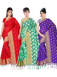 Pack of 3 Adah Fashions Printed South Silk Saree -adf09
