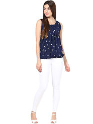 Styles Closet Printed Crepe  Blue Top -Bnd-9162