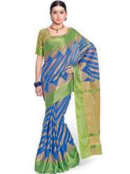 Admyrin Printed Chanderi Blue Saree -Snh11-10235