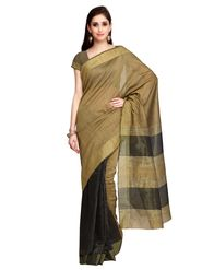 Black and Golden Tussar Silk Saree with Blouse Piece_ADM-SR-SNH3-10081