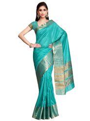Turquoise Tussar Silk Zari Work Saree with Blouse Piece_ADM-SR-SNH3-10087