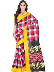 Triveni Printed Bhagalpuri Silk Multicolor Saree -tsb28