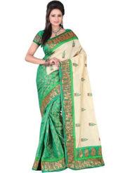 Triveni Printed Bhagalpuri Silk Green Saree -tsb29