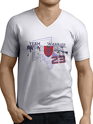 Anger Beast Team Warrior V-Neck Half Sleeves T-Shirt - White