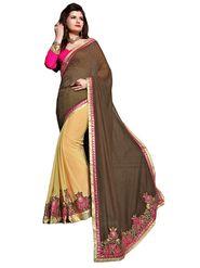 Khushali Fashion Embroidered Georgette Half & Half Saree_KF08