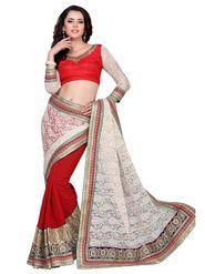 Khushali Fashion Embroidered Georgette Half & Half Saree_KF03