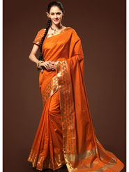 Admyrin Plain Chanderi Cotton Orange Saree-HKT-20017