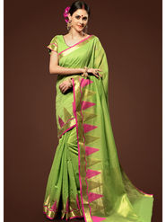 Admyrin Plain Chanderi Cotton Green Saree-HKT-20025