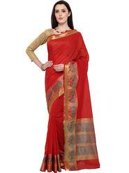 Admyrin Woven Chanderi Cotton Red Saree -20034
