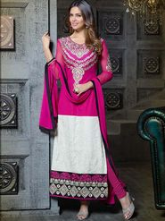 Adah Fashions Georgette Embroidered A-Line Salwar Suit - Pink and Off White - 683-314