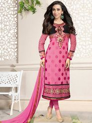 Adah Fashions Georgette Embroidered Semi Stitched Suit - Pink - 716-5109G