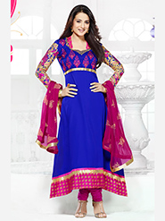 Adah Fashions Embroidered Georgette Semi-Stitched Anarkali Suit - Blue - 449-5005