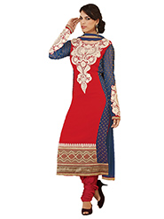 Adah Fashions Embroidered Georgette Semi-Stitched Anarkali Suit - Red & Blue - 380-35