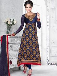 Adah Fashions Crape Embroidered Semi Stitched A-Line Dress Material - Blue_624-5508