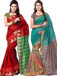 Reshmi Pack of 2 Silk Jacquard Sarees - By Adah Fashions