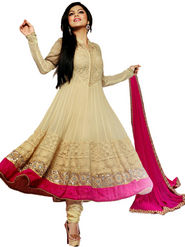 Adah Fashions Georgette With Raw Silk Embroidered Semi Stitched Designer Suit - Off White