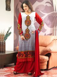 Admyrin Cambric Cotton Printed Dress Material - Off-white+Red - 7003