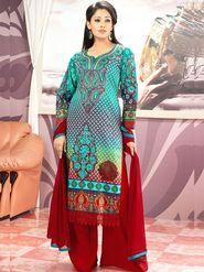 Admyrin Cambric Cotton Printed Dress Material - Multicolour - 7005