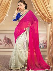 Admyrin Georgette+Net Jacquard Printed Saree - White+Pink - 1201
