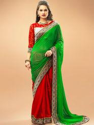 Admyrin Georgette+ Satin  Printed Saree - Green+Red - 11005