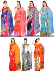 Aneesha Set Of 7 Georgette Sarees By Pakhi (7G23)