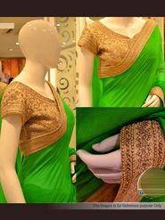 Arisha Chiffon Embroidered Saree - Green & Golden