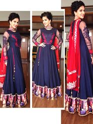 Arisha Georgette Embroidered Semi-Stitched Anarkali Suit - Purple - 29