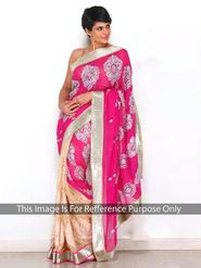 Arisha Georgette Embroidered Saree - Pink