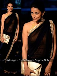 Arisha Georgette Embroidered Saree - Black - 381