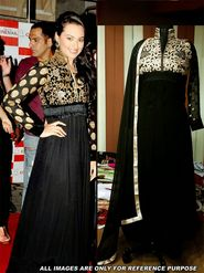 Arisha Georgette Embroidered Semi-Stitched Anarkali Suit - Black - 6109