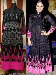 Arisha Georgette Embroidered Semi-Stitched Anarkali Suit - Black And Pink
