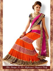 Arisha Georgette Embroidered Semi-Stitched Lehenga Saree - Pink And Orange