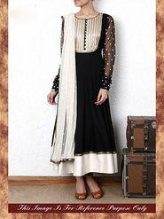 Arisha Georgette Embroidered Semi-Stitched Anarkali Suit - Black - 7024
